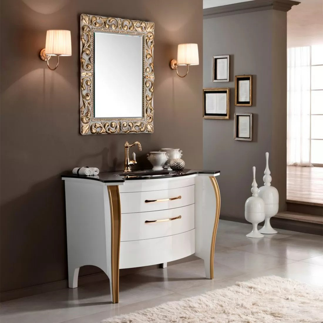 Mia Italia Belvedere 05 48 Unique Bathroom Vanity Glass Brown Top