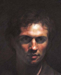 oil painting, portrait detail from life size painting of man stepping out of darkness.