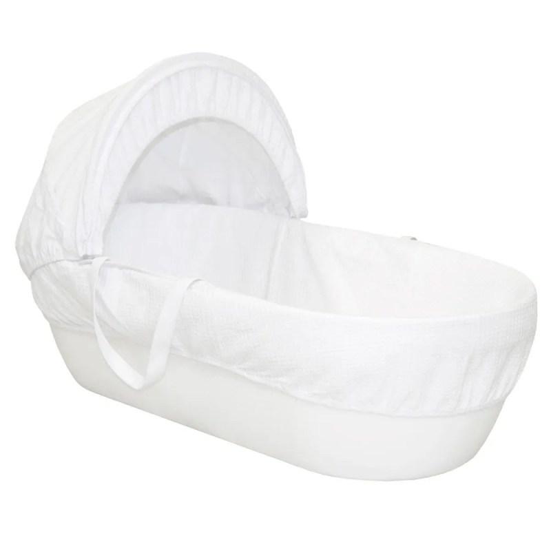 Shnuggle Moses Basket with White Waffle Cotton Dressing, Hood and Mattress - White Basket