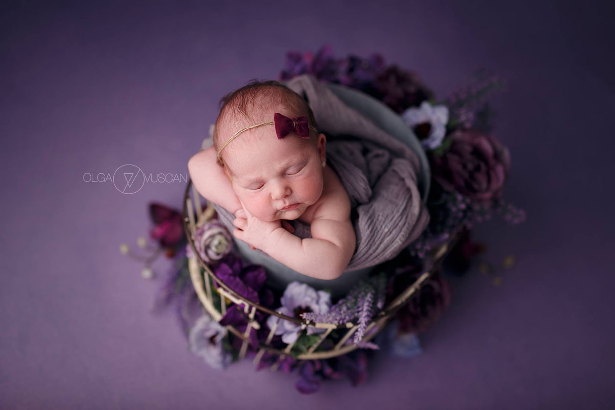 Olga Vuscan New Born Photographer for Workshops by Camen Bergmann Studio new born baby sleeps on a purple cover
