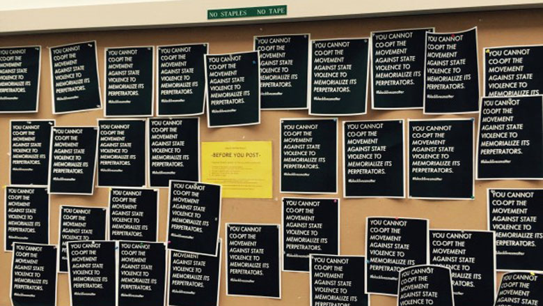 The Dartmouth pro-police display, after it was torn down and replaced with Black Lives Matter material. (Courtesy of Dartmouth student, DCF)