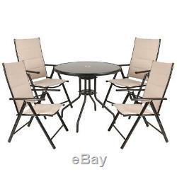 wido cream deluxe outdoor garden patio furniture set table 4 chairs parasol