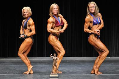 Bodybuilding 2nd Lorie Noilles 1st Nancy Hendrix 3rd Debbie Fury
