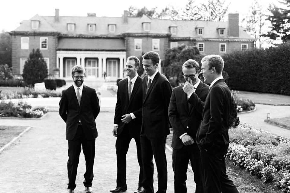 groomsmen at gardens at elm bank black and white
