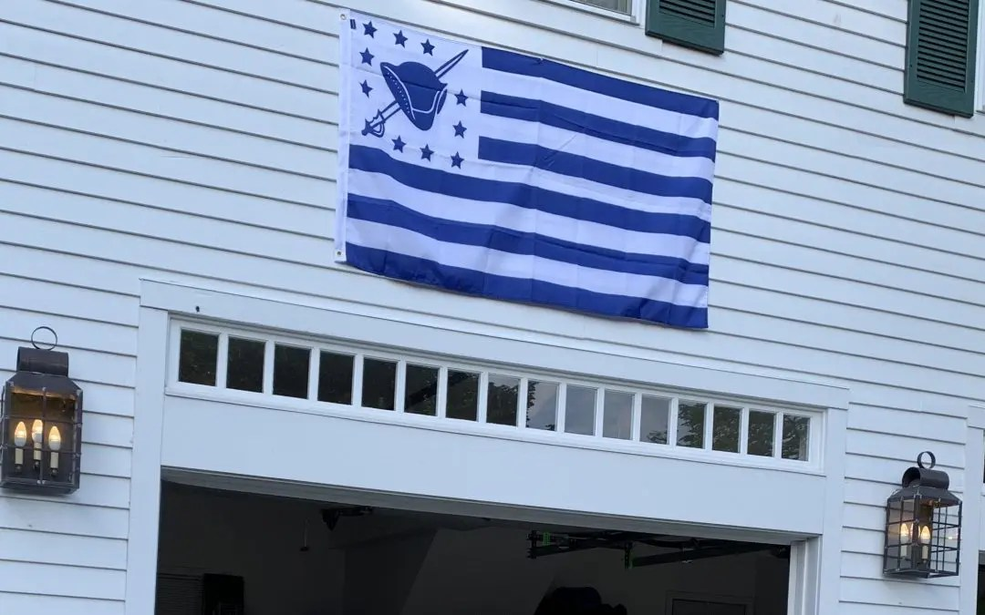 Yankee Homecoming flag on historic Newburyport home