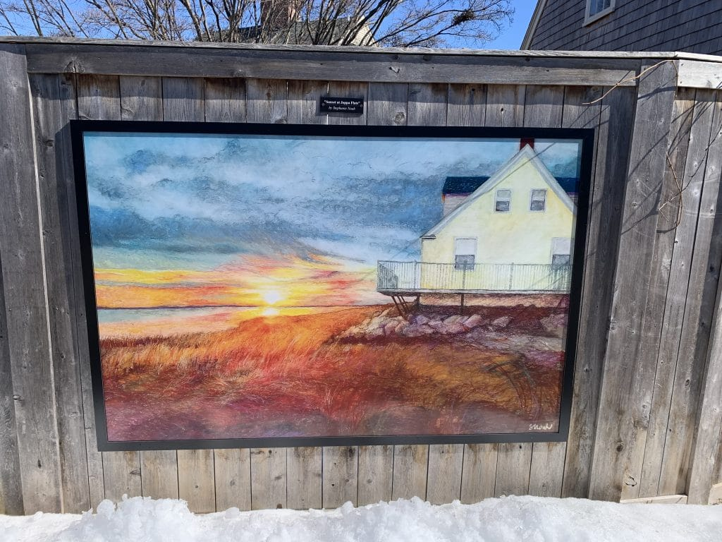 Picture along the Newburyport Rail trail depicting the Plum Island sand dunes at sunset