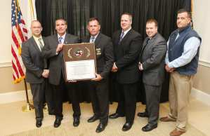 From left to right: Hamilton Police Chief and Massachusetts Police Accreditation Commission (MPAC) Vice President Russell Stevens, Newburyport City Marshal Mark Murray, Duxbury Police Chief and MPAC President Matthew M. Clancy, Newburyport Lt. Matthew Simons, Sgt. Gregory Whitney and Inspector Chris McDonald (Courtesy Photo)
