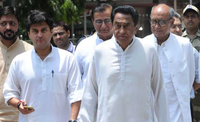 madhya pradesh congress leaders including kamalnath and jyotiraditya scindia and digvijay singh