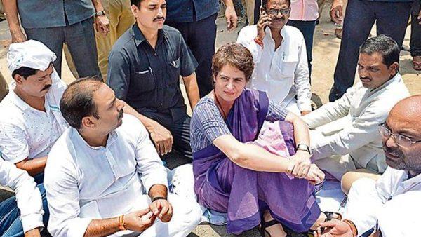 congress general secretory priyanka gandhi while protesting on sonbhadra voilence in uttar pradesh