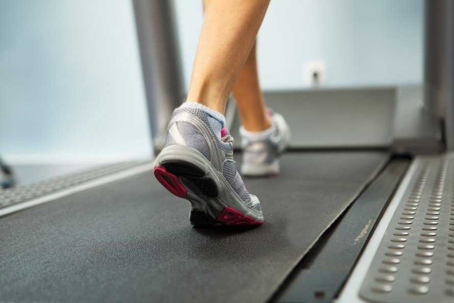 woman walking on treadmill exercise