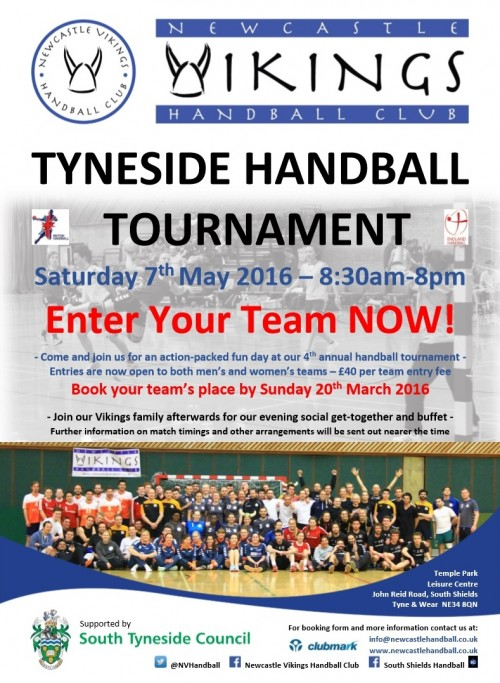 NVHC Tyneside Handball Tournament Entry Poster (March 2016)