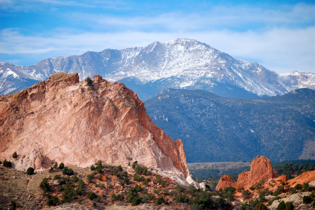 Pikes Peak seen from the Garden of the Gods Photo: A Hodges