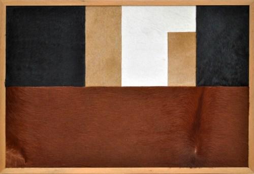 "Nelson Leirner, ""Rural Constructivism"", 1999: 2012, 63 X 93cm, cow peltry on wood"