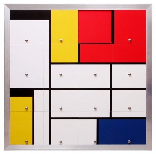 Nelson Leirner, Homage to Mondrian I, 2010: 2013, 130 x 130cm, photography and drawer knobs