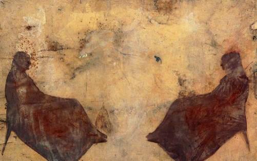 "Daniel Senise, ""Despacho"", 1993, iron dust and polyurethane varnish, 207 x 303 cm, based on Whistler's mother"