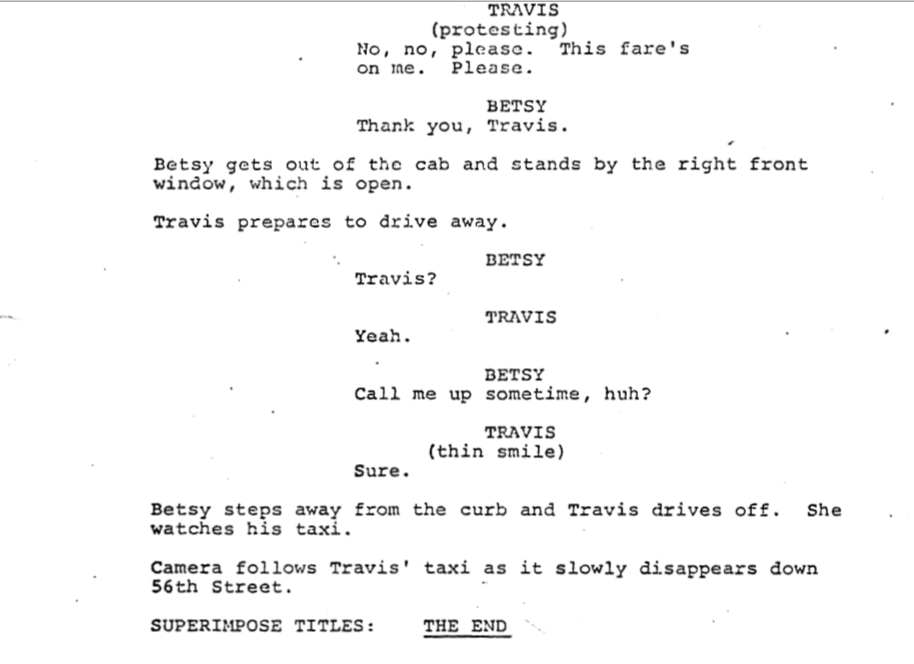TAXI DRIVER ending
