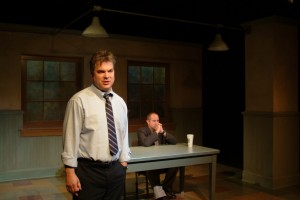 "Peter DeFaria and Randy Steinmeyer in ""A Steady Rain"" at Chicago Dramatists"