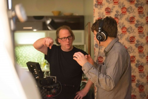 Director Mark Siska in his studio working on a new Chicago-based documentary with director of photography Benjamin Holland/Photo: Peter Thompson
