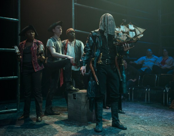 In front: Joe Bianco as Davy, behind L to R: Krystal Worrel, Ben Hertel, Abu Ansari