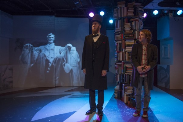 (left to right) Nathan Hosner and Matt Farabee in About Face Theatre's Chicago premiere of ABRAHAM LINCOLN WAS A F*GG*T by Bixby Elliot, directed by Andrew Volkoff.  Photo by Michael Brosilow.