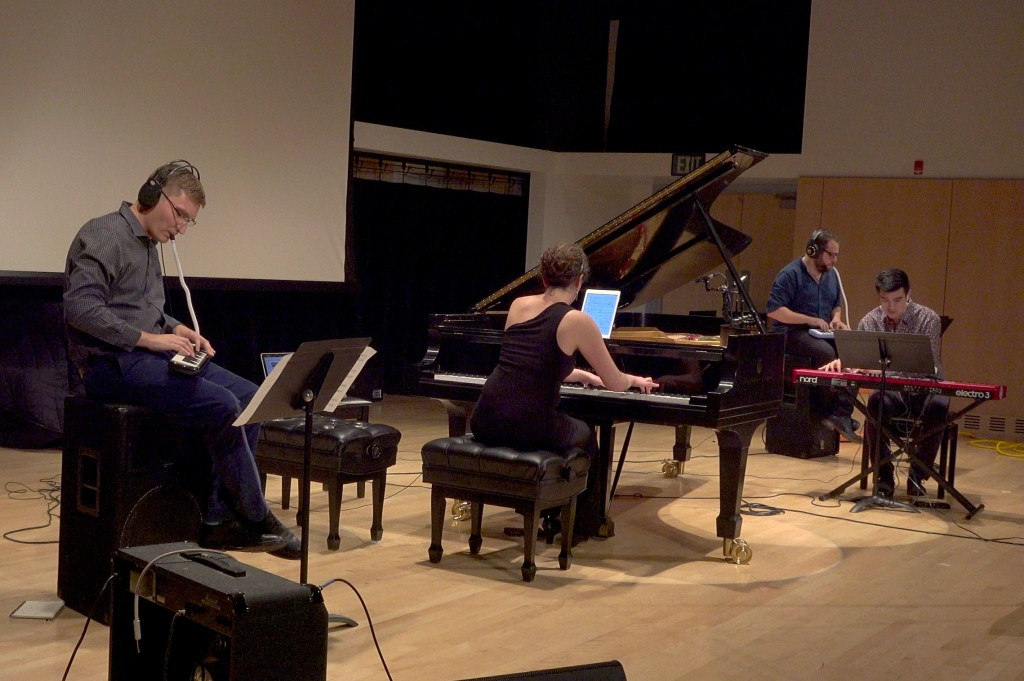 L to R: Marc Evans, Sarah Gibson, Nick Norton, and Thomas Kotcheff perform Evans' One Wandering Night.