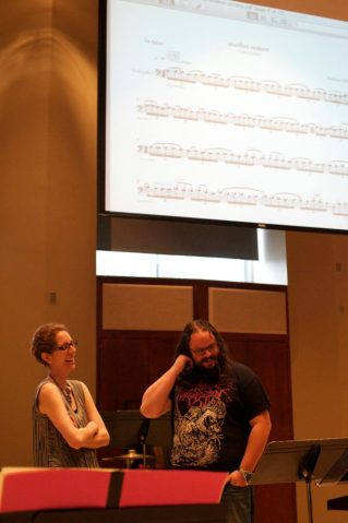 Cellist Ashley Walters and composer Nicholas Deyoe. Photo by Warren LaFever.
