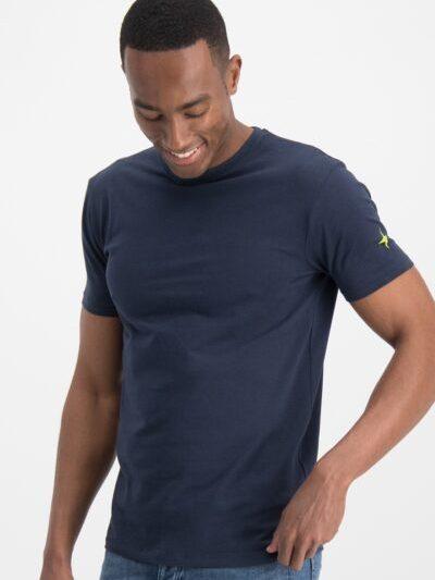 Haze&finn_heren_t-shirts_Slim_fit_crew_neck_stretch_T-shirt_navy_1