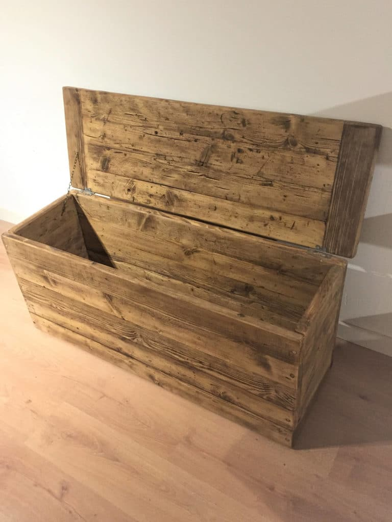 Reclaimed Wooden Ottoman or Blanket Storage Box  Newco