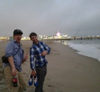 Mike Gale and Nick Potvin kicked back on the beach