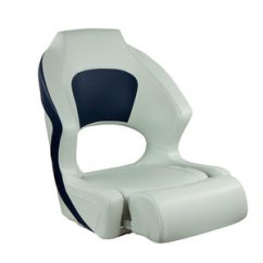 Fishing Chair Spare Parts Stackable Padded Chairs With Arms Helm Seats West Marine Deluxe Sport Flip Up Seat Blue And White Upholstery
