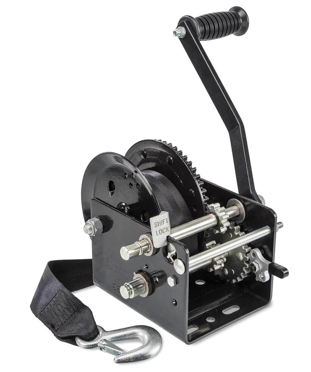 medium resolution of two speed manual trailer winch with strap