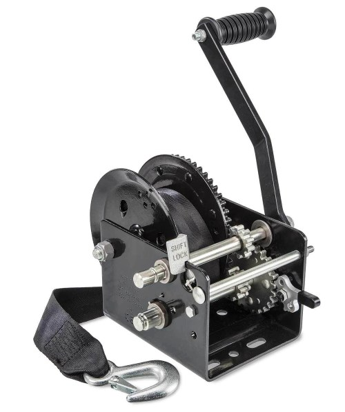 small resolution of two speed manual trailer winch with strap