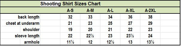 basketball shooting shirts size chart