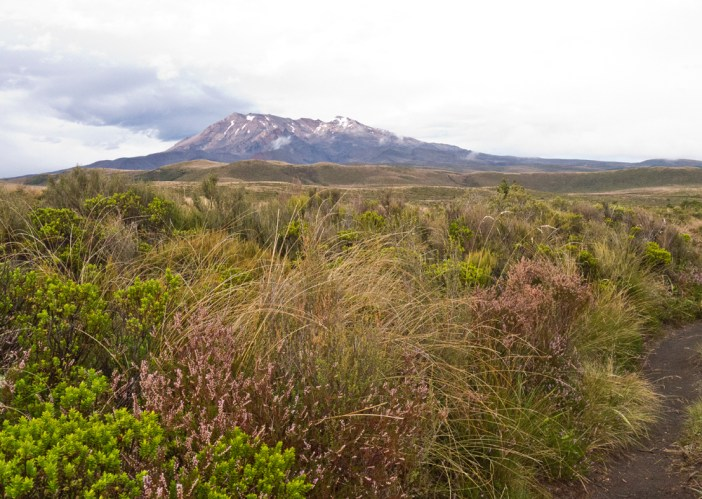 Mount Ruapehu with rain clouds