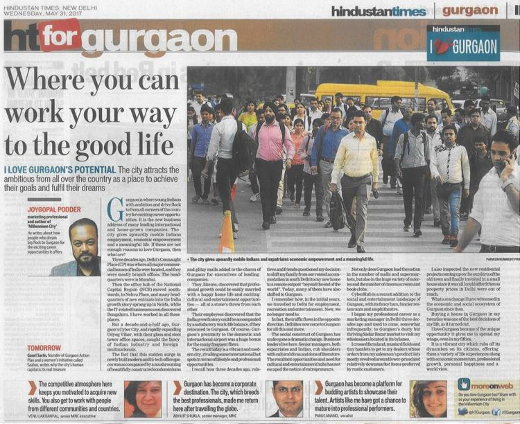 article by Joygopal Podder in Hindustan Times Gurgaon