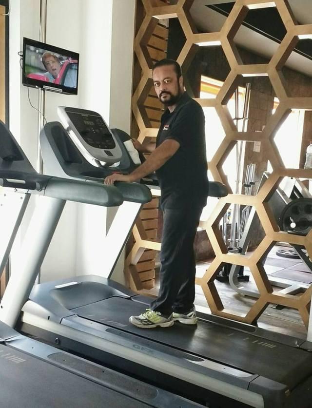 Joygopal Podder on the treadmill