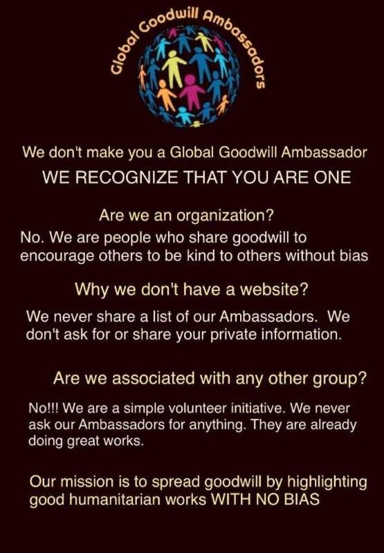 We recognize you are a Global Goodwill Ambassador - Richard DiPilla - Founder of Global Goodwill Ambassadors