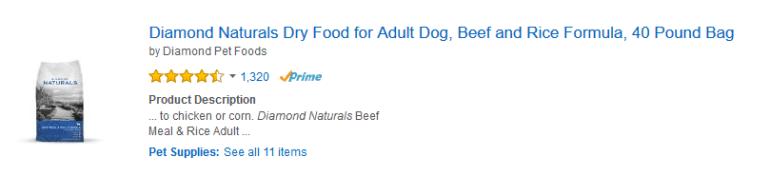 diamond natural dog food
