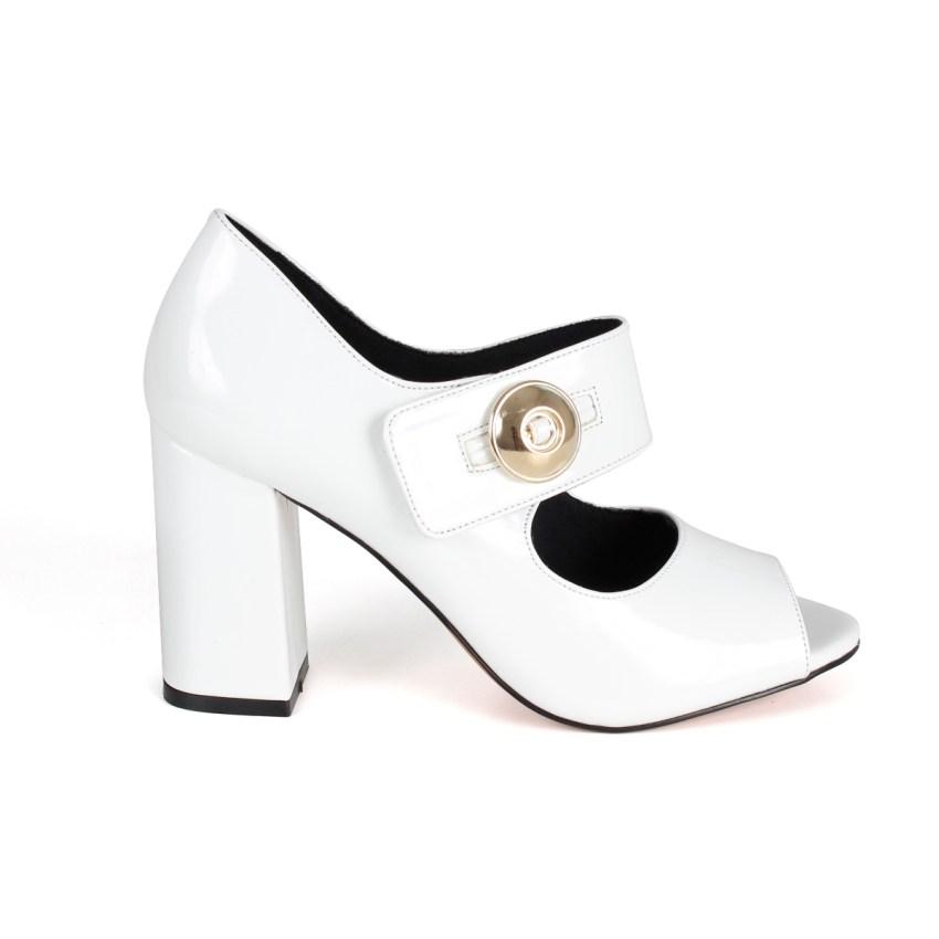 b5596ba1e Peep Toe Verniz Branco Salto Grosso Médio - New Elegance