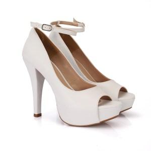 363f0aaac4 Sapato Peep Toe Branco Meia Pata e Salto Fino
