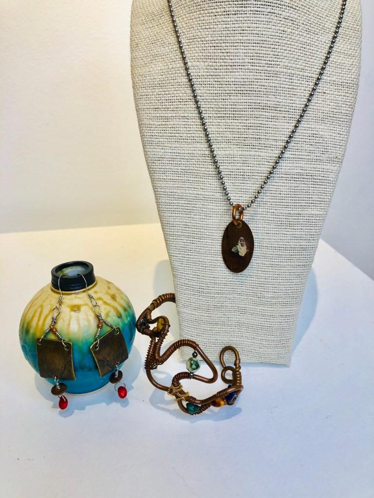 Copper jewelry with stones