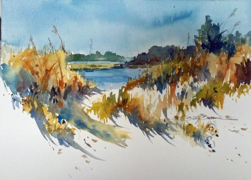 Watercolor, beachscene, dunes