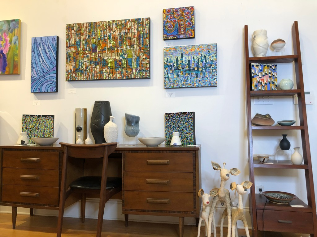 mid century, abstract paintings, oil paintings, cityscape, contemporary pottery