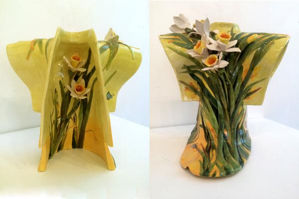 Daffodils, kimono, clay