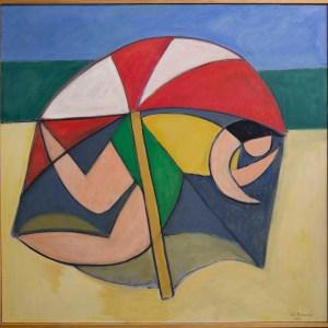 beach scape, worman, beach umbrella
