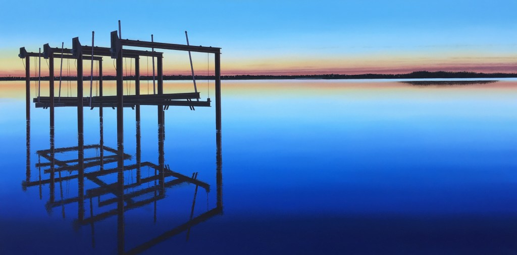 blues, boat landing, photorealism