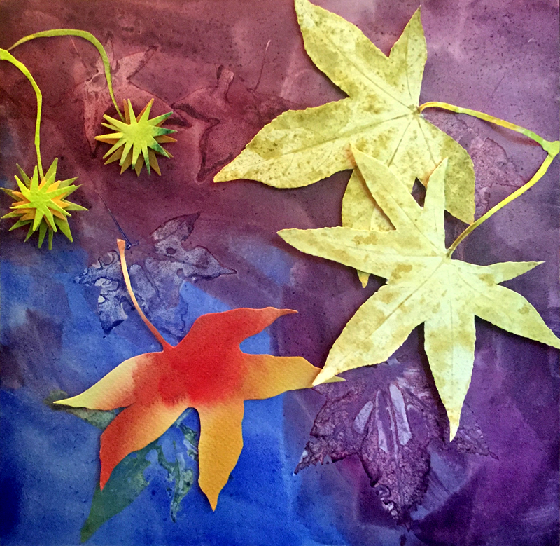 sweet gum leaves, colorful, watercolor collage