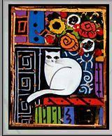 cat, flowers, enamel, pin
