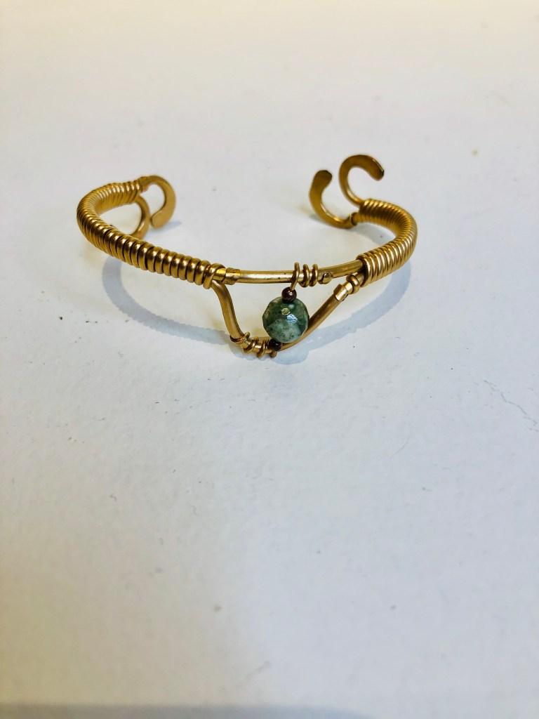 Brass cuff, wire wrap, peridot