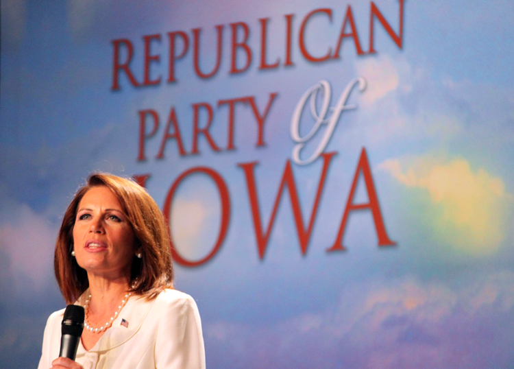 Michele Bachmann at the Iowa Straw Poll in 2011. Bachmann won the contest but after that it was all downhill, after the Amercian public tuned out on her message.